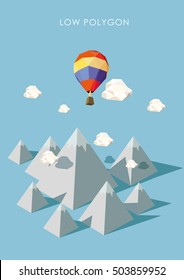 Hot air balloon and polygonal mountains. Low poly vector illustration. Traveling and adventure concept.