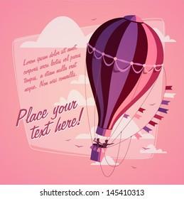 Hot air balloon. Romantic background