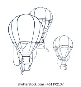Hot air balloon set, contour drawings for design. Coloring book with hot air balloon - vector illustration.