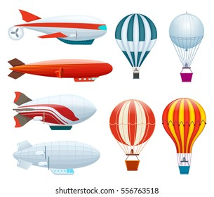Hot air balloon set isolated on white background vector illustration. Aerostat airship, modern zeppelin, aerial vehicle dirigible, free flying aviation. Colorful hot air balloon collection in flat