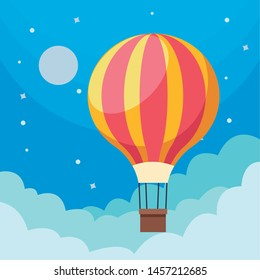 hot air balloon in sky and clouds moon and stars vector illustration graphic design