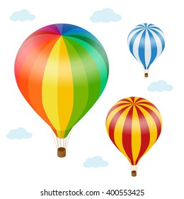 Hot air balloon in the sky with clouds. Flat 3d vector isometric illustration hot air balloons.