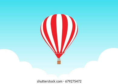 Hot air balloon in the sky with clouds. vector illustration
