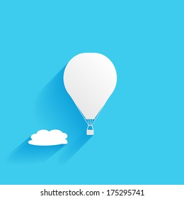 hot air balloon in the sky, flat icon isolated on a blue background for your design, vector illustration