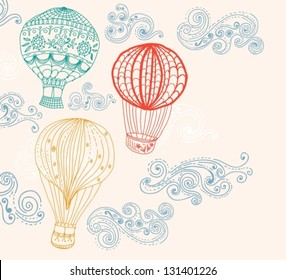 hot Air Balloon in sky, hand drawn Background for Design, vector