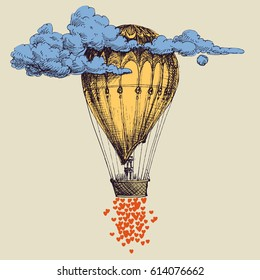 Hot air balloon up in the sky with lots of hearts. Love concept
