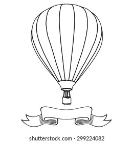 Hot air balloon in the sky with message on banner vector illustration. Hot air balloon outline drawings