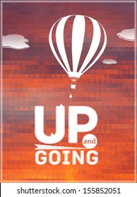 hot air balloon in the sky: vector illustration, typographic poster, greeting card