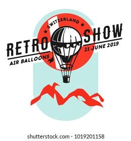 Hot air balloon, balloon, thermal balloon, aerostat, airship.Aerostat balloon vector.