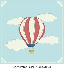 Hot air balloon vector graphic vintage illustration.  Freedom adventure sky clouds.
