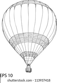 Hot Air Balloon Vector Sketch Up line, EPS 10.
