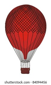 Hot Air Balloon Vintage Vector Illustration