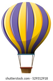 Hot air balloon in yellow and purple illustration