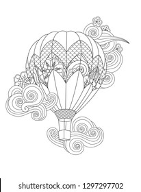 Hot air balloon in zentangle inspired doodle style isolated on white. Coloring book page for adult and older children. Vector
