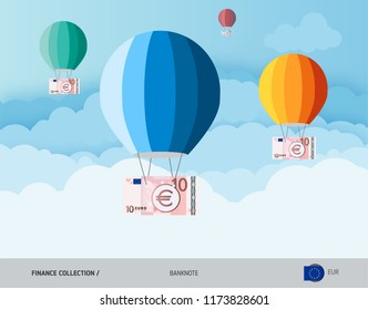 Hot air balloons with 10 Euro Banknotes. Flat style vector illustration. Finance concept.