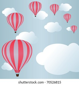 Hot air balloons among clouds in sky (eps8)