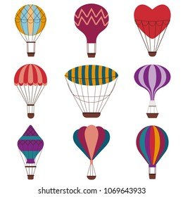 Hot air balloons colorful set. Vintage gas balloons with different shapes and patterns. Air craft adventure, exploring colored retro airships icons. Romantic flight trip, touristic ballooning journey.