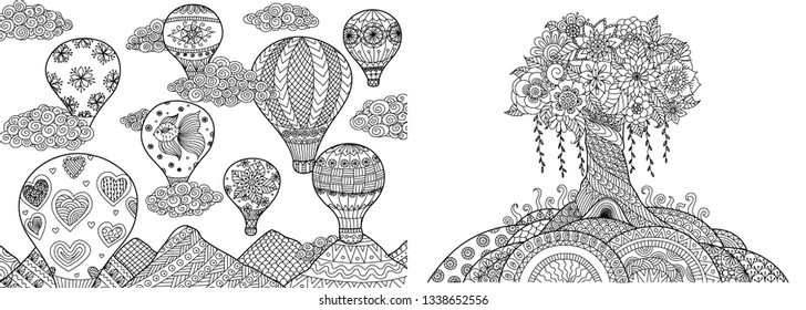 Hot air balloons and floral tree on hill collection for adult coloring book,coloring page. Vector illustration.