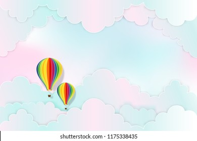 Hot air balloons on the pastel sky background as design paper art and craft style concept. vector illustration