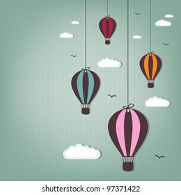 hot air balloons - scrap elements