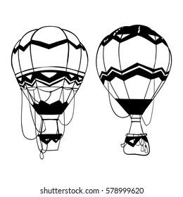 Hot air balloons set, hand drawn black silhouettes isolated on white background