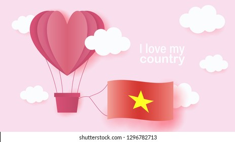 Hot air balloons in shape of heart flying in clouds with national flag of Vietnam. Paper art and cut, origami style with love to Vietnam