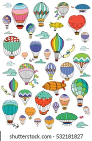 Hot Air Balloons in the sky. Coloring page in retro style.