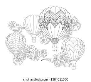 Hot air balloons in the sky. Zentangle inspired doodle style isolated on white. Coloring book page for adult and older children. Vector
