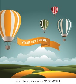 Hot air balloons with space for your message. EPS10 vector.