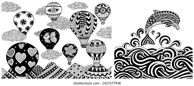 Hot air balloons in summer and dolphin jumping into ocean collection for printing and adult coloring book or coloring page. Vector illustration