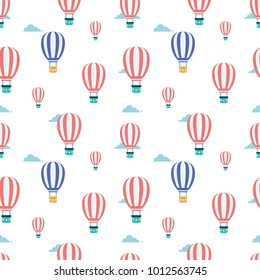 hot air balon flying on the sky in flat vector seamless pattern