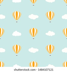 hot air baloons flying in the  blue sky with clouds.  Flat cartoon vector illustration. Fantasy, imagination, study background.  Seamless kids pattern.