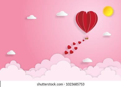The hot air heart balloon on pink sky as love, happy valentine's day, wedding and paper art concept. vector illustration.