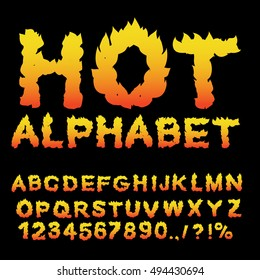 Hot Alphabet. Flame font. Fiery letters. Burning ABC. Fire typography. blaze lettring