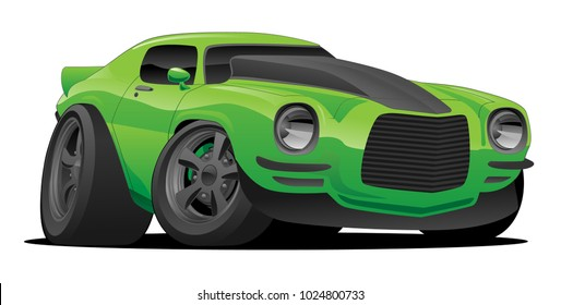 Hot American muscle car cartoon. bright green with black stripe, aggressive stance, low profile, big tires, blacked out wheels and trim.