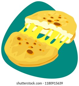 Hot Arepa with melted cheese on green background