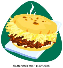 Hot Arepa with white cheese and pulled beef on napkin and green background