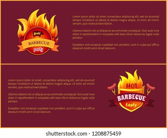 Hot barbecue grill sign and tasty sausages. Frankfurters on forks vector advertisement leaflets. Fire flames with wurst and beagle, roasted cooked meat
