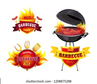 Hot BBQ barbecue tasty set icons isolated vector. Brazier grill with roasting cooking sausages. Frankfurters on griddle, spatula and forks cutlery