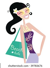 Hot beach chic. Sexy beach babe with shopping bag. Vector Illustration.