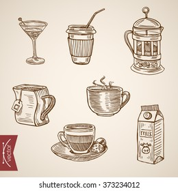 Hot beverage cups tea coffee milk french press late cappuccino aperitif icon set. Engraving style pen pencil crosshatch hatching paper painting retro vintage vector lineart illustration.