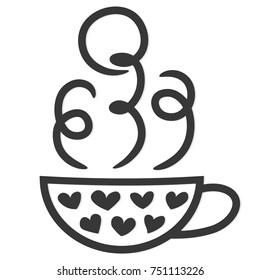 hot beverage icon, cup of coffee or tea