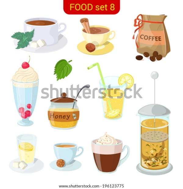 Hot beverages vector icon set. Coffee, tea, cappuccino, honey, lemonade, frappe, mint.  Food collection. High detail.