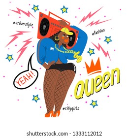 Hot black girl with a boom box and words queen, yes. Female rapper musician dressed in 90s fashion. Young woman. Cartoon vector illustration. Rap music poster. Cool chic with big booties on high hills