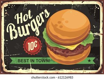 Hot burgers retro tin sign design. Vector illustration.
