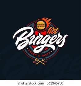Hot burgers vector logo, lettering. Modern burgers emblem. Vector art.