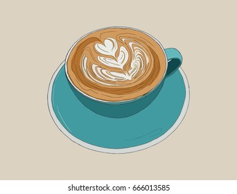 hot cappucino coffee with latte art , sketch vector.
