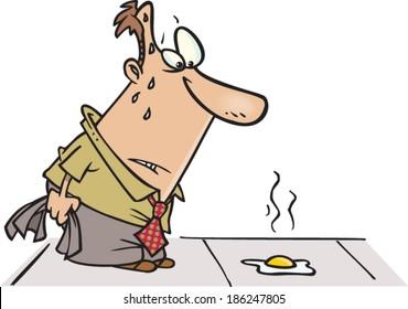 hot cartoon man frying an egg on the sidewalk