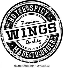 Hot Chicken Wings Menu Design Stamp