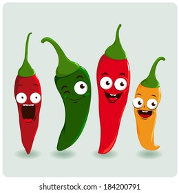 Hot chili cartoon pepper characters in different colors:  red, green and yellow